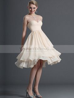 Ruffle Tiered Strapless Sweetheart A Line Chiffon Cocktail Dress