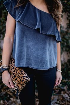 New Years Eve Outfit Idea // Ft. Velvet Top, Coated Jeans, Leopard Clutch, Ann Taylor Earrings