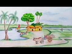How to draw scenery of rural life Pencil Drawings Of Nature, Landscape Pencil Drawings, Abstract Drawings, Scenery Paintings, Oil Pastel Paintings, Oil Pastel Drawings, Oil Pastels, Scenery Drawing For Kids, Art Drawings For Kids
