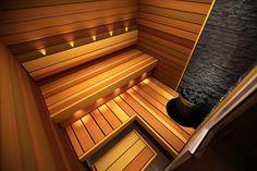 Saunagalleria I SUN SAUNA Oy I Ideoita saunaremonttiin, saunaideat Sauna Heater, Sauna Design, Saunas, Fresh And Clean, Bathroom Cleaning, Architecture Design, Stairs, Relax, Interior Design
