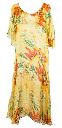 1920s Silk Crepe Floral Dress in Orange/Gold/Yellow/Green, in sack style cut with attached cape.