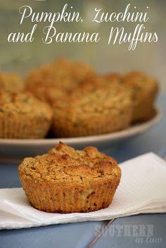 Pumpkin, Zucchini and Banana Muffins - Gluten free, low fat, healthy, clean eating muffins - sub yogurt and honey