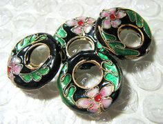 Cloisonne Black Hoops bead destash by catsarelove on Etsy, $3.25