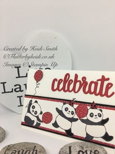 Well when these were showed to the demonstrators, there were lots of oohs and aahhs – I don't do cute normally, but I have to say I love these party pandas and paired up with the thinle… Mini Albums, Panda Party, Bear Card, Kids Birthday Cards, Happy Birthday, Animal Cards, Valentine Decorations, Stamping Up, Cool Cards