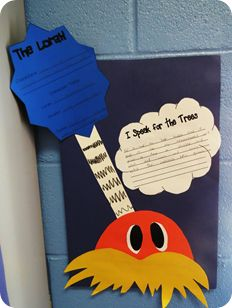 Cute writing/art for the Lorax (Dr. Seuss birthday)