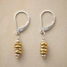 """BRASS CAIRN EARRINGS - Brass pebbles stacked between sterling beads sway from the lever back wires of our artisan brass and sterling silver bead earrings. Handcrafted in USA exclusively for Sundance. 1-1/4""""L."""