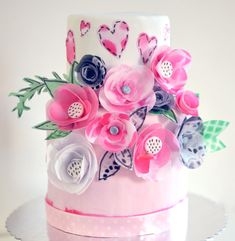 Wafer Paper Flowers Cake by Tammy Youngerwood