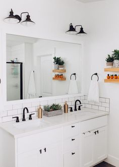 modern white subway tile and black grout with shiplap bohemian look bathroom wit. modern white subway tile and black grout with shiplap bohemian look bathroom with gold and matte bl Modern Master Bathroom, Minimalist Bathroom, Small Bathroom, Master Bathrooms, Bathroom Black, Dream Bathrooms, Beautiful Bathrooms, Modern Bathrooms, Black And White Master Bathroom