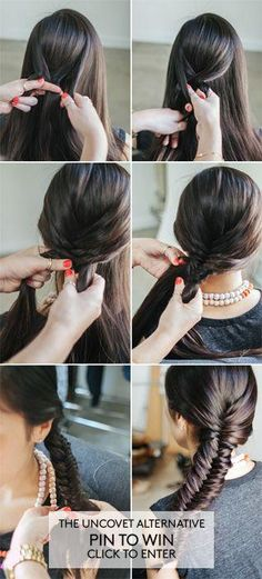 the uncovet alternative- Fish Tail Braid My Hairstyle, Pretty Hairstyles, Braided Hairstyles, Braided Updo, Wedding Hairstyles, Corte Y Color, Natural Hair Styles, Long Hair Styles, Great Hair