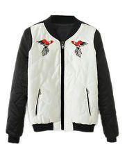 Women's Outwear Zipper Pockets Jacket  Motorcycle Coat Autumn Windbreaker Parrot
