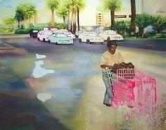 Walking blindness in a paradise Öljy, akryyli, alkydi ja spray-maali kankaalle, 179x140 cm, 2007