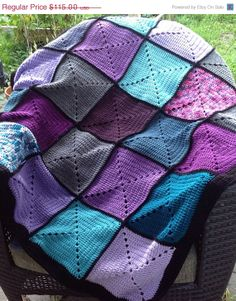 Basic Granny Square Patchwork Crochet Afghan by DapperCatDesigns, $103.50