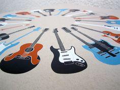 20 Guitars - Music Screen Print Poster via Etsy.