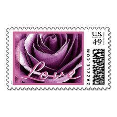 Wedding LOVE Stamp PURPLE Rose PINK Accent #wedding #stamps #love #marriage #romance #bride #groom #jaclinart #love #postage #purple #rose #pink