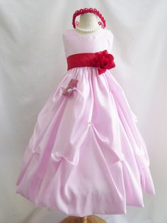 30.98$  Watch now - http://vimto.justgood.pw/vig/item.php?t=hk4s2em35976 - Light pink/red birthday recital pageant wedding party gown flower girl dress