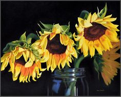 Sunflowers In Jar, oil on canvas, 24 x 30 x .75 inches