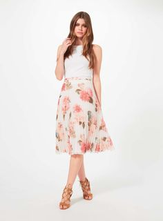Floral Print Pleat Midi Skirt - Miss Selfridge