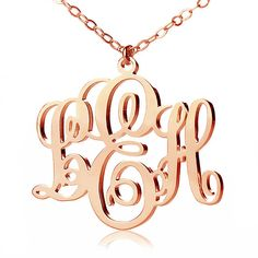 Personalize Rose Gold Vine Monogram Necklaces Custom 3 initials Monogrammed Nameplate Necklace