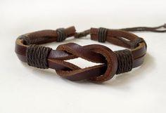 Sailor Knot bracelet, navy bracelet , Leather Cuff Bracelet, Leather Wrist Band Wristband Handcrafted Jewelry
