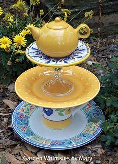 Organic Gardening Tips And Tricks Glass Garden Flowers, Glass Garden Art, Glass Art, Garden Crafts, Garden Projects, Teacup Crafts, Garden Whimsy, Garden Junk, Garden Totems