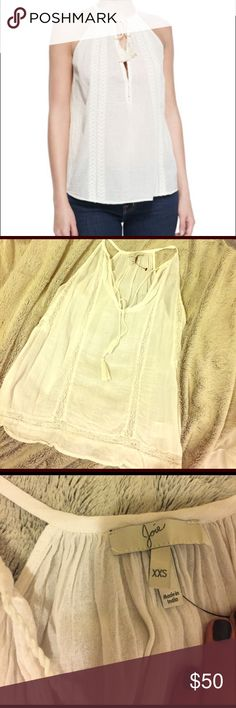 ✨Joie white peasant racerbank ✨ Cute joie peasant top bought at Nordstrom. Cute with jeans or a swim wear cover up top. Pretty easy and laid back basic to style! Joie Tops Tank Tops