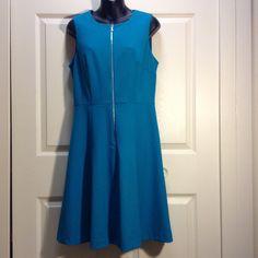 Woman's dress Calvin Klein zip in the front turquoise dress short sleeve Calvin Klein Dresses Midi