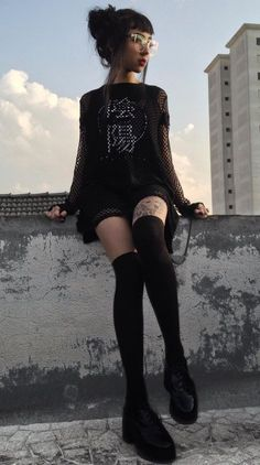 Oversized mesh top with graphic printed tee, high knees socks & faux leather shoes by svyuros - #fashion #grunge #alternative Rock Outfits, Grunge Outfits, Grunge Fashion, Dark Fashion, Black Summer Outfits, Goth Aesthetic, Womens Fashion Stores, Drawing Clothes, Shades Of Black