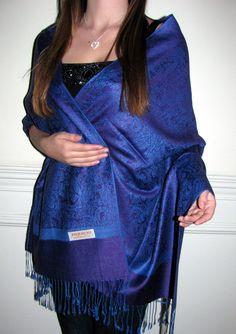 Royal Blue and Purple Paisley Pashmina Shawl/Scarf - Penn Fashion - Lycoming Mall - 4 Dollars