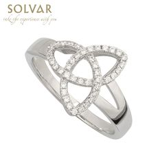 Irish Ring - Ladies Cubic Zirconia Sterling Silver Trinity Knot Ring An Irish Trinity Knot that sparkles and dazzles with cubic zirconia which outline this exquisite celtic knot. Available in sizes 4-10 inc. half sizes. Measures approx. 0.6 inch wide. Comes in a presentation gift box. Matching earrings also available. Made by Solvar Jewelry, Dublin, Ireland and hallmarked at the Assay office in Dublin Castle