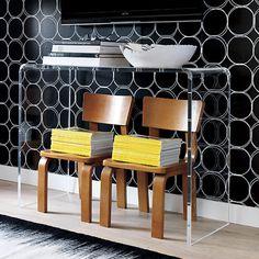 Acrylic console under mounted tv, cb2
