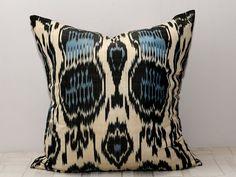 20x20 turquoise black aqua ikat turquoise ikat pillow by SilkWay, $27.69