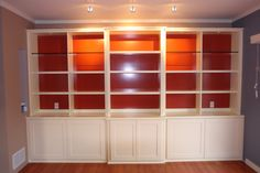 Maybe glass shelves to allow side lights to pass through. This would really lighten up that dark wall.