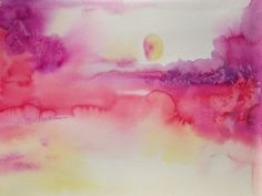 FREE SHIPPING - Original Abstract Watercolor Landscape Painting  by Lana