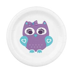 Purple Teal Owl Plate for Baby Shower, Birthday