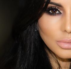 Her makeup is flawless.