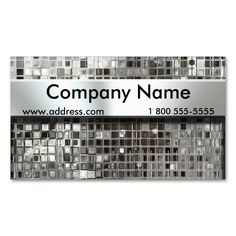 Metal Mosaic And Nameplate Business Cards Business Cards. This great business card design is available for customization. All text style colors sizes can be modified to fit your needs. Just click the image to learn more! Business Cards Online, Metal Business Cards, Elegant Business Cards, Custom Business Cards, Business Card Design, Construction Business Cards, Nameplate, Text Style, Card Templates