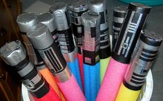 pool noodle sabers - duct tape - brilliant!