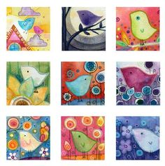 Birds 1 inch Square Digital Collage Lauren by LaurenAlexander Spring Art, Summer Art, Art Lessons For Kids, Art For Kids, Kid Art, Square One Art, Faber Castell Pitt, Mini Canvas Art, Collage Making