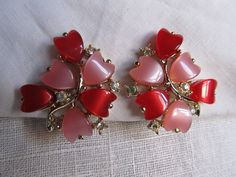 Vintage 1950s 1960s Pink And Red Heart Clip On by AuntSuesVintage, $18.99