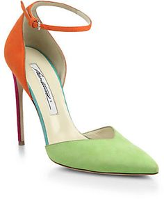 Brian Atwood Lisette Colorblock Suede Sandals