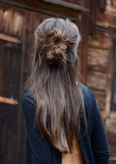Half up half down messy bun #gorgeoushair