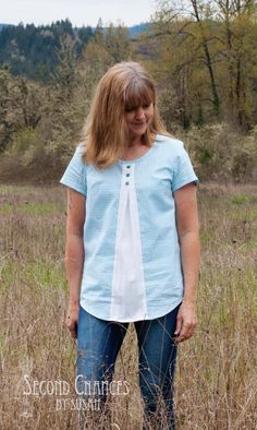 This tunic started out as a slim fitting men's shirt. I loved the color and small checks. If you notice in the before picture that the sh...