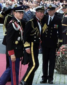 Albert, The Hereditary Prince of Monaco and Charles, the Prince of Wales arrive at Oslo Cathedral for the wedding ceremony; wedding of Crown Prince Haakon of Norway and ms. Mette-Marit Tjessem Høiby, August 25th 2001