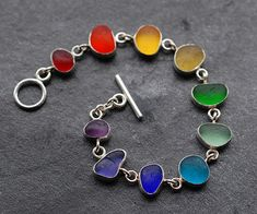 Moonflygirl: Bracelet a Month March - Rainbow Sea Glass