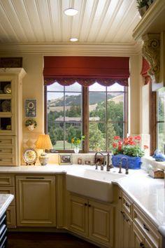 Roman shades in kitchen. Love!!!