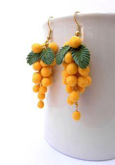 Yellow earrings  Flower earrings  Yellow mimosa by insoujewelry, $29.00