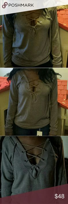 Light Weight Taupe Deep V Lace Up Sweater/Top 💃New Arrival💃         🚫No Trades Price Firm🚫 ✈✈Ships Same Or Next Day✈✈ Sweaters V-Necks