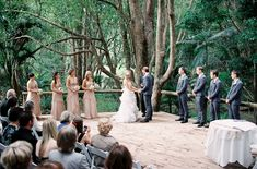 Laura and Brenton's Rustic Queensland Wedding polkadotbride.com.au - love the dusky pink gowns with charcoal suits and black ties