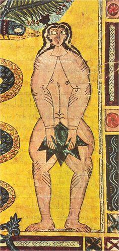 Siglo X. El pecado original, Beato de El Escorial, Real Biblioteca del Monasterio de San Lorenzo de El Escorial, Madrid (detalle)