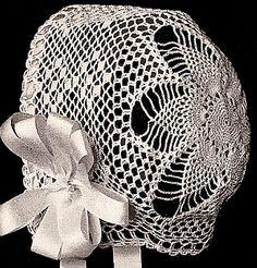 Vintage Baby Bonnet Pineapple Crochet Pattern